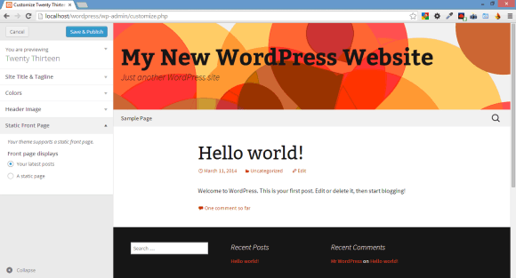 Using WordPress Theme to Control Look and Feel of Website