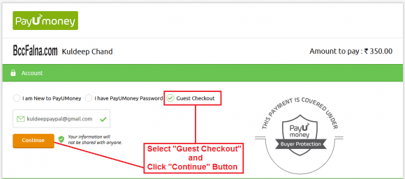 Guest Checkout - PayUMoney Online Payment