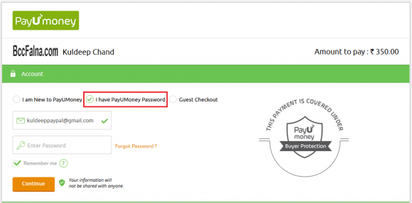 PayUMoney Online Payment - Already Registered