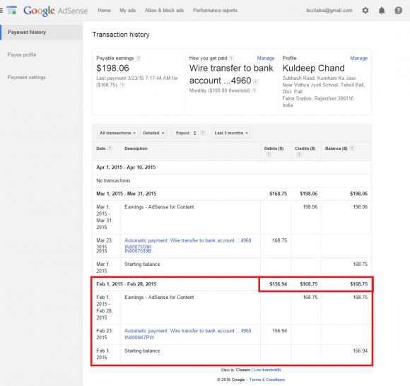 AdSense Ads Income of January 2015