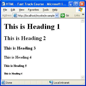 Heading Elements h1, h2, h3, h4, h5, h6 - Basic Text Elements - XHTML in Hindi