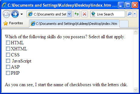 Checkbox Element, Checkbox Control, HTML in Hindi, XHTML in Hindi
