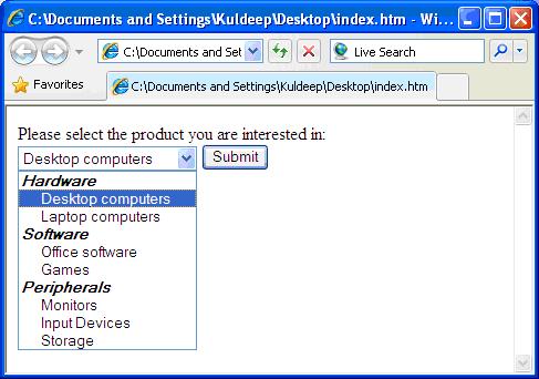 Options Group - optgroup Element - HTML in Hindi