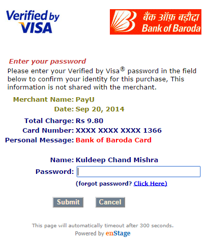 Verified by Visa (VbV) Secure Code