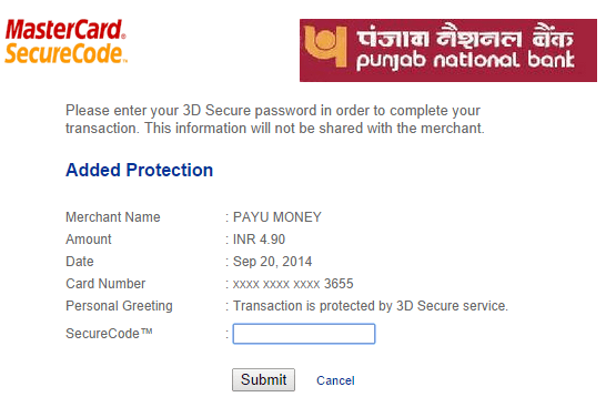 PNB MasterCard 3DSecureCode