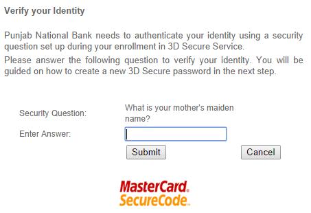 PNB MasterCard 3D SecureCode