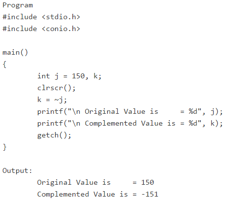 One's Complement Bitwise Operator with Example in Hindi