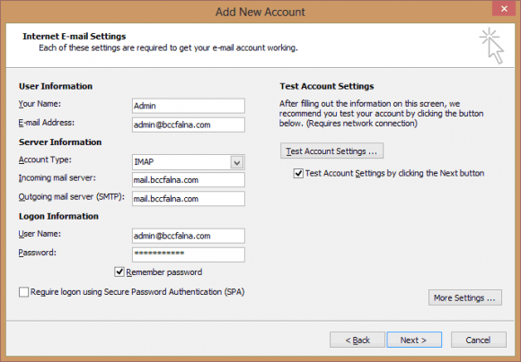Outlook EMail Settings Configuration
