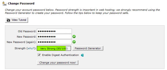 cPanel Preferences - Change Password