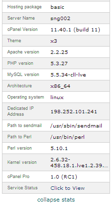 cPanel Stats Bar - Status of Current Shared Hosting