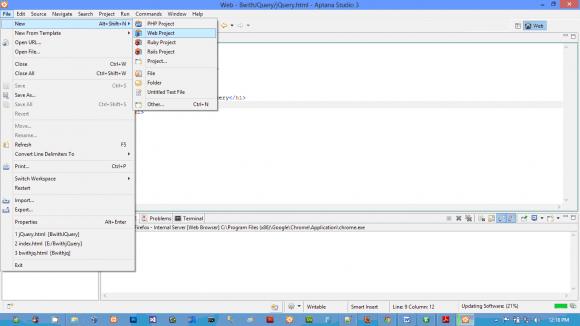jQuery IDE Aptana Studio - Best jQuery IDE