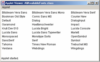 Java Font Example - Java Fonts List in Hindi
