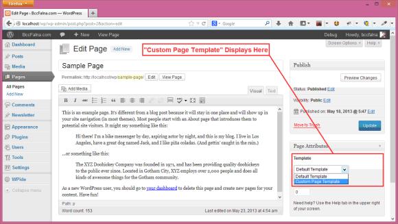 WordPress Custom Page Template - Hindi